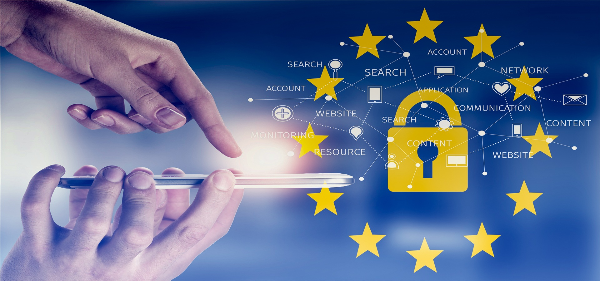 GDPR med mobil og nøkkelord om sikkerhet og personvern